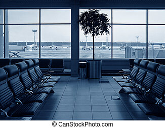 Waiting room airport. blue. planes