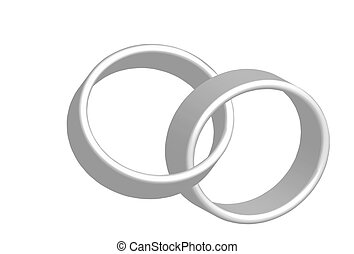 Wedding bands - An illustration on interlocked wekking rings