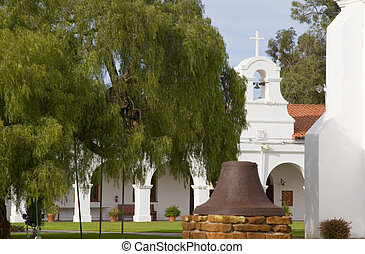 Mission Courtyard - Courtyard of San Luis Rey Mission in...