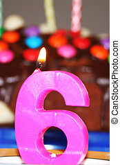 "my sixth birthday - a candle \""Number 6\\\"" is burning"
