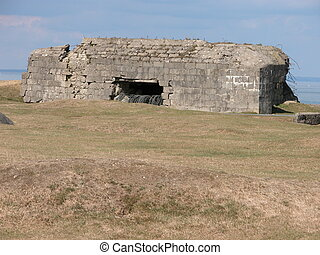 Normandy Fort Ruins - A view of the ruins of a World War II...
