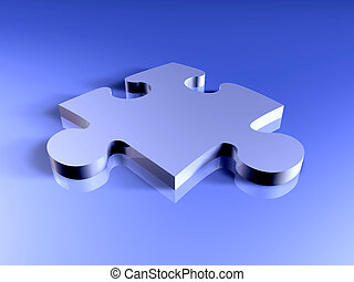 Metal Puzzle piece - 3D Illustration of a metallic Puzzle...