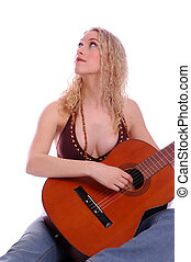 Sexy Woman & Guitar - Sexy Woman in jeans Playing Accoustic...