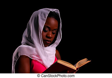 African-American woman Holding Book reading