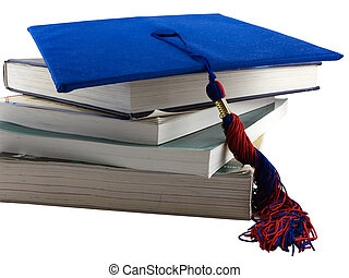 Graduate - Photo of several textbooks with a graduation cap...