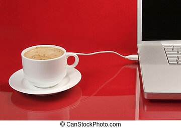 coffee break - coffee usb connected to laptop