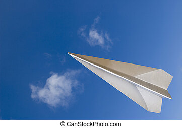 Flying Across - Paper airplane fly across the top - Contain...
