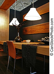 Lamps Above Table - wooden decoration of home interior with...