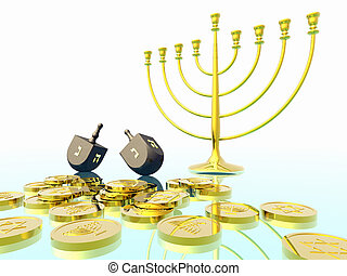 Hanukkah celebration. Dreidel. Jewish tradition. 3D...