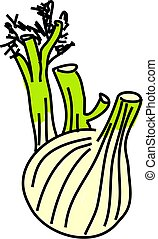 fennel isolated on white drawn in toddler art style