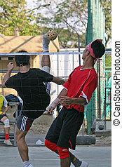 Takraw kick - Player makes a high overhead kick in Sepak...