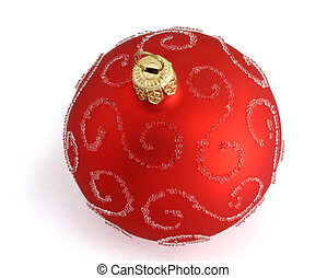 Red Christmas ball with pearls