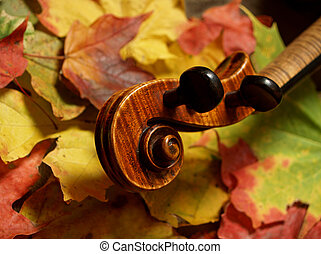 Violin in Autumn - horizontal detail of violin scroll and...