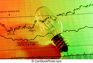 Investment Ideas - Photo of a Light Bulb and Stock Chart -...