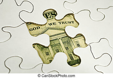 Financial Puzzle - Photo of a Puzzle With Dollar Bill Below...
