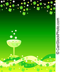 Shamrocks and wine - Green shamrocks and wine
