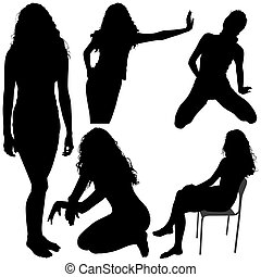 Girls Silhouettes 06 - High detailed black and white...