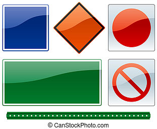 common road signs 2 - a set of common road sign shapes and...