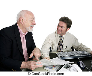 Accounting Series - Happy Sr. Man - A senior man receiving...