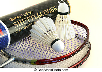Badminton rackets and two shuttlecocks on a white background