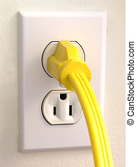 Wall Outlet - Yellow Plug - Wall Outlet with Yellow corded...