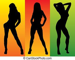sexy, couleur, Trois