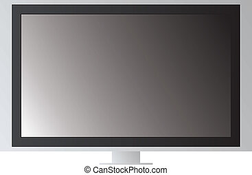 tv screen - A drawn wide screen lcd television in black and...