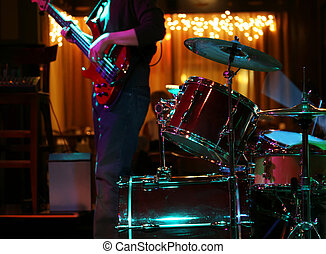 Rock Show - A live Rock and Roll Band performing on a moody...
