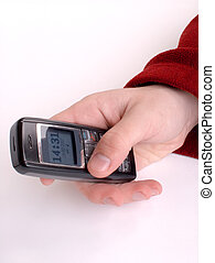 Handy - A man holding a celular.