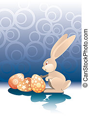Easter Rabbit and eggs - Easter Rabbit with painted eggs...