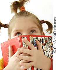 girl with book 6 - portrait of the small pretty girl with...