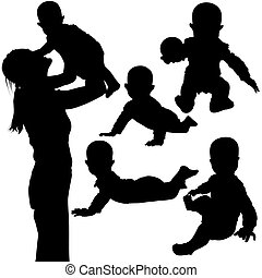 Silhouettes - Baby 3 - High detailed black and white...