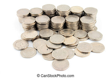 Money - 20 Pence Pieces 2 - Stacks of Money on a white...