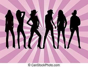 Posing Girls - illustration