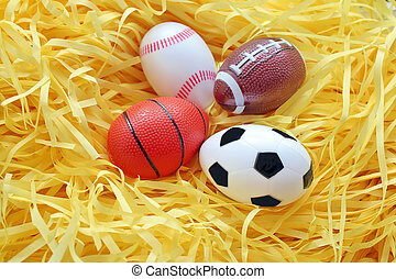 Fake easter egg. Sport Ball in the nest.