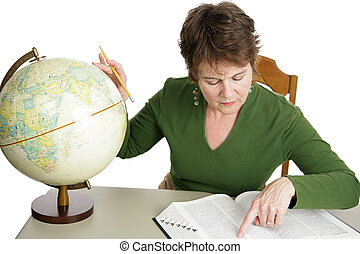 Geography Research - A librarian or adult student doing...