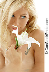madonna lily in water #2 - pretty lady with madonna lily in...