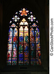 "Stained glass ""Pentecost"" - Gothic stained glass window in..."