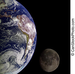 EARTH & MOON - Earth from outer space. Moon on the...