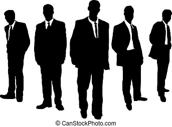 business men gangster - Five business men hanging in a...