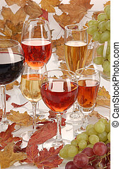 wine_grape001 - glasses filled up red white and rose wine...