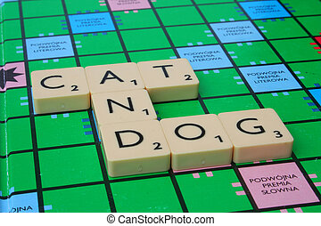 cat and dog inscription made of scrabble tiles
