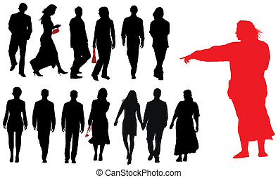 Group of young adults silhouettes