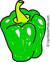 green pepper isolated on white drawn in toddler art style