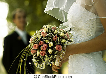 Wedding day - bridal bouquet(focus on the flowers,special...