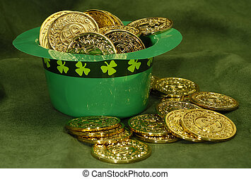 Leprechaun Gold - Photo of a Green Leprechaun Hat and Gold...