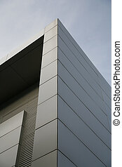 steel corner - steel wall of modern trade center over the...