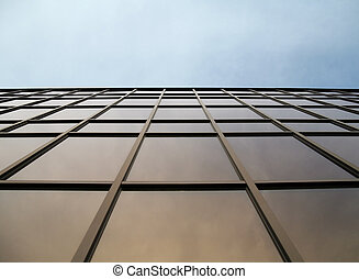 glass and steel - glass wall of modern trade center over the...