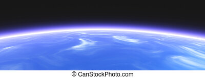 Horizon - Earth from Space 3D rendered Horizon line