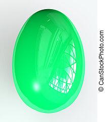 Green Easteregg - 3D Illustration. Quality HDRI rendering....